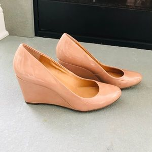 J. Crew Factory nude patent wedges